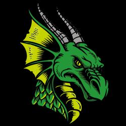 Grüner Drachenkopf mit Hörnern