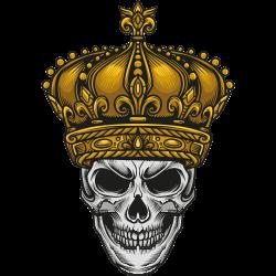 Totenkopf mit goldener Krone
