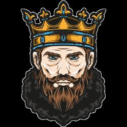 König mit Bart und goldener Krone