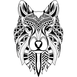 Wolf als Mandala-Tattoo